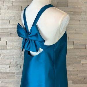 Belle Badgley Mischka Teal Bow Dress SZ 6 NWT